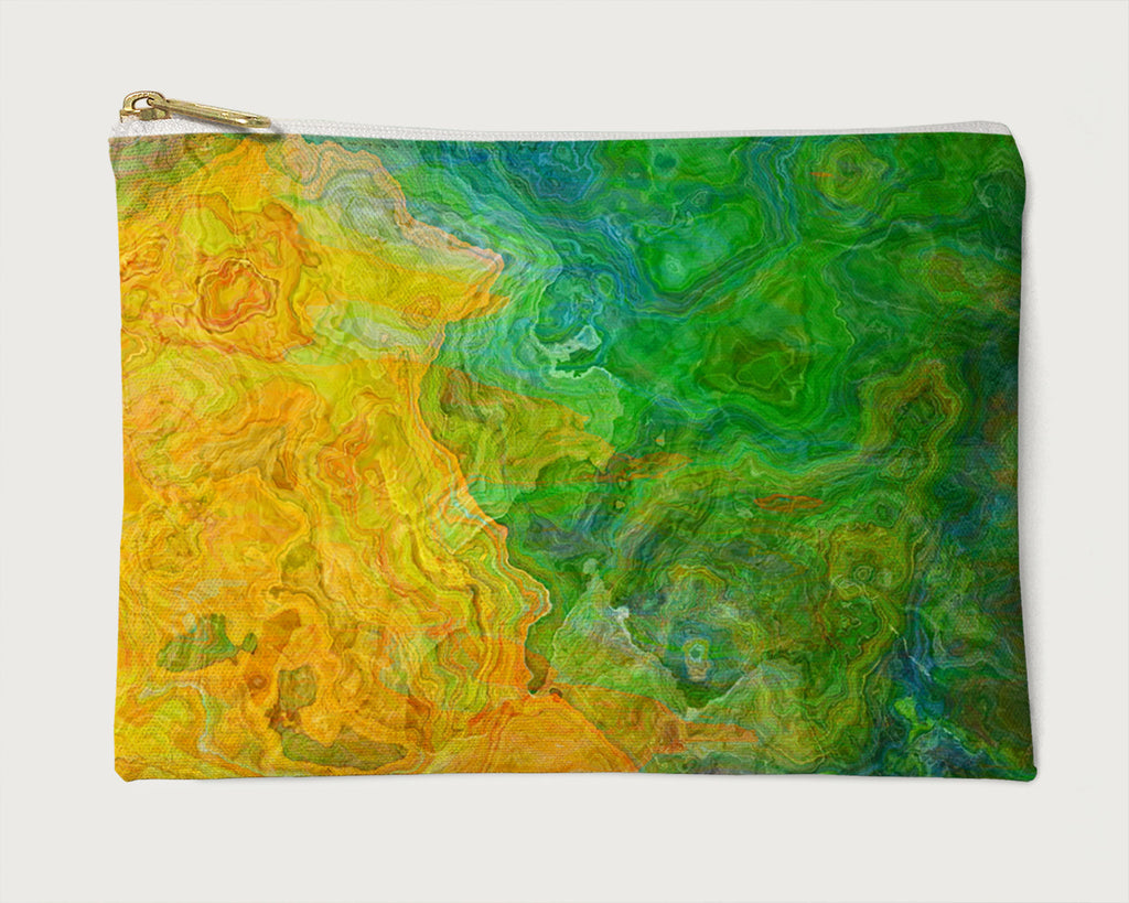 Makeup Bag, Pencil Case, Cosmetic Bag Abstract Art, Yellow, Green, Orange