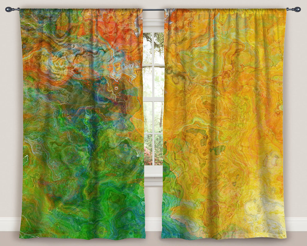 "Abstract art window curtains 50""x84"" panels in Yellow, Green, Orange"