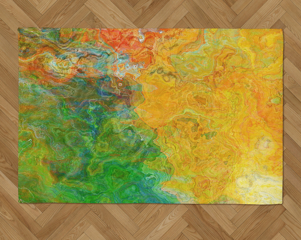 Area Rug with Abstract Art, 2x3 to 5x7, in Yellow, Green, Orange, Red