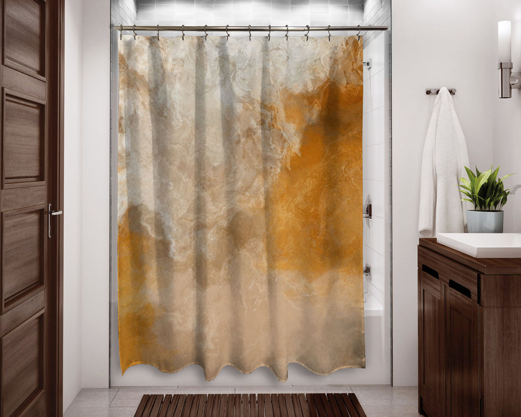 Abstract shower curtain Orange, Golden Yellow, Beige, contemporary bathroom