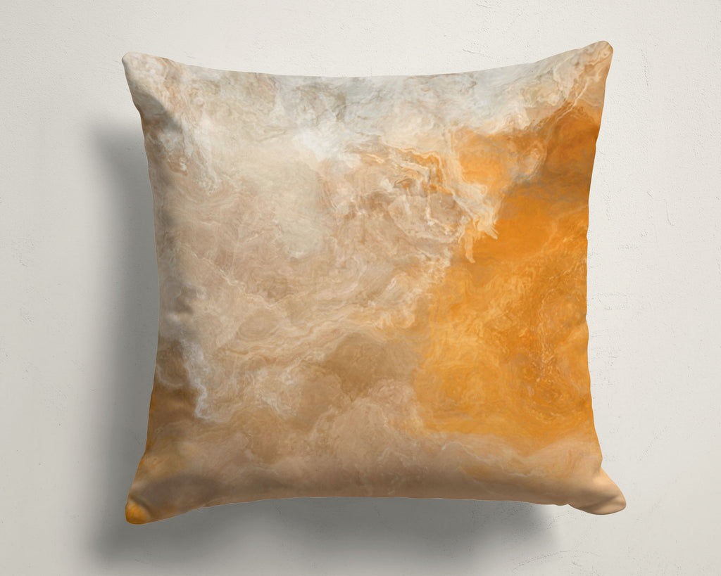 Abstract art pillow covers, 16x16 and 18x18 inches, Orange, Beige, Cream