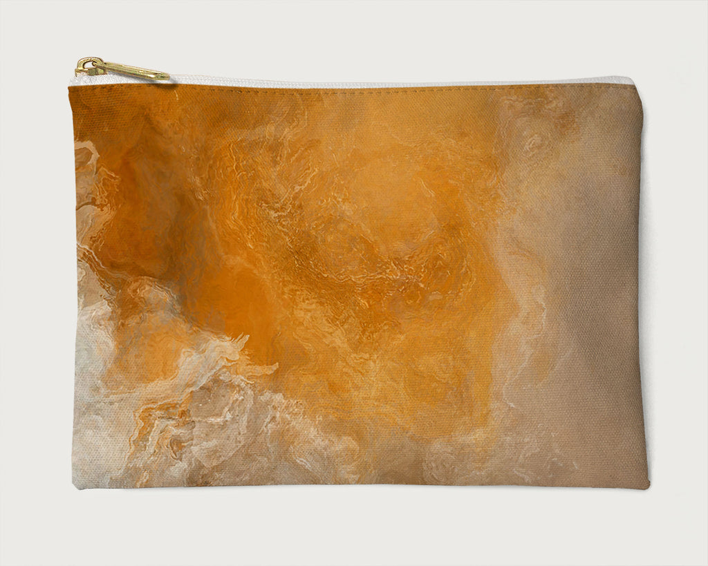Makeup Bag, Pencil Case, Cosmetic Bag Abstract Art, Orange, Beige