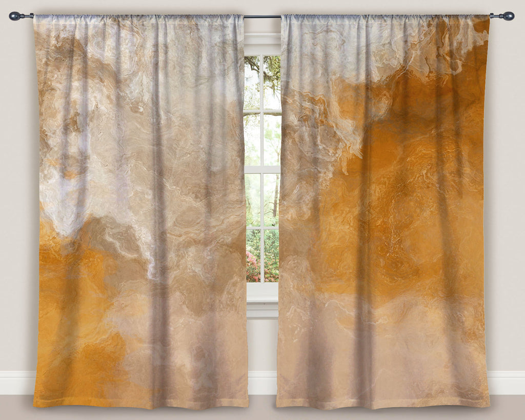 "Abstract art window curtains 50""x84"" panels in Orange, Cream, Beige"