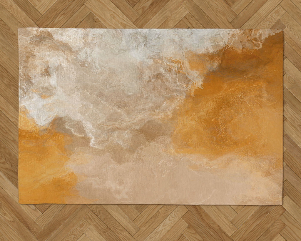 Area Rug with Abstract Art, 2x3 to 5x7, in Orange, Beige, Cream