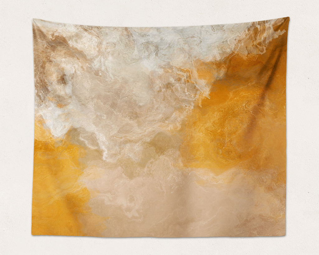 Abstract Art large modern wall hanging in Orange, Beige, Cream