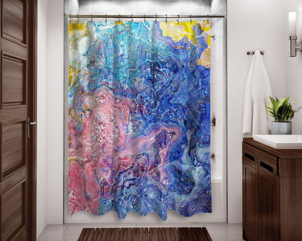 Abstract shower curtain pink, blue, white contemporary bathroom