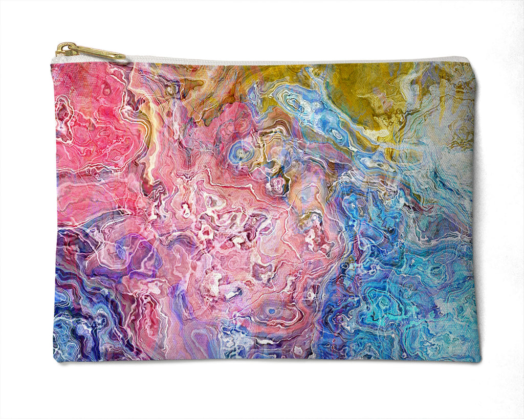 Makeup Bag, Pencil Case, Cosmetic Bag Abstract Art, pink, blue, white