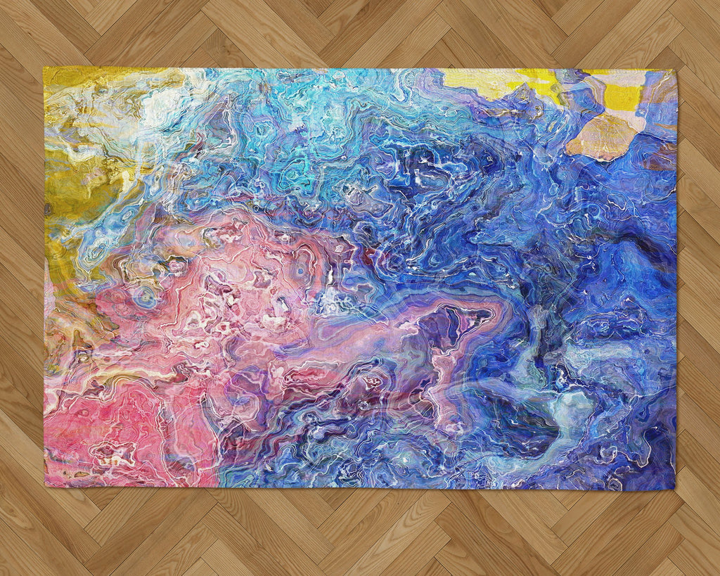 Area Rug with Abstract Art, 2x3 to 5x7, in pink, blue, white