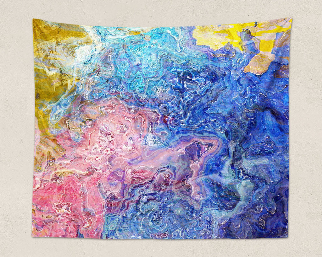 Abstract Art large modern wall hanging in pink, blue, white