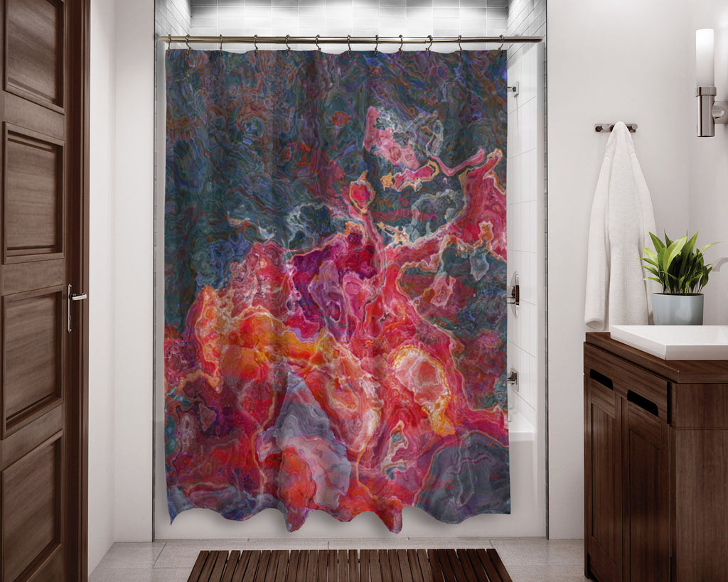 Abstract shower curtain Red, Orange, Purple, contemporary bathroom