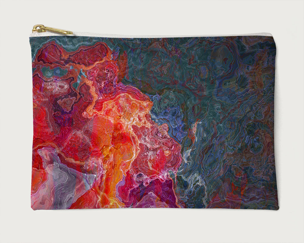 Makeup Bag, Pencil Case, Cosmetic Bag Abstract Art, Red, Orange, Purple