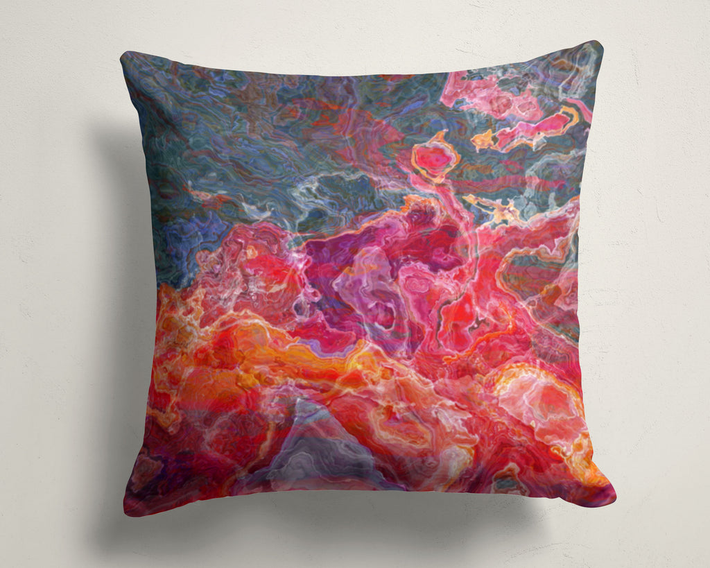 Abstract art pillow covers, 16x16 and 18x18 inches, Red, Orange, Purple