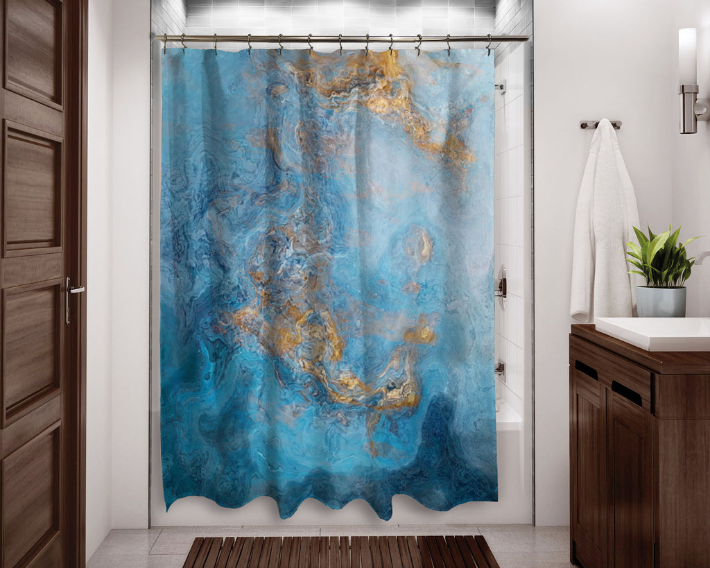 Abstract shower curtain Blue and Gold contemporary bathroom