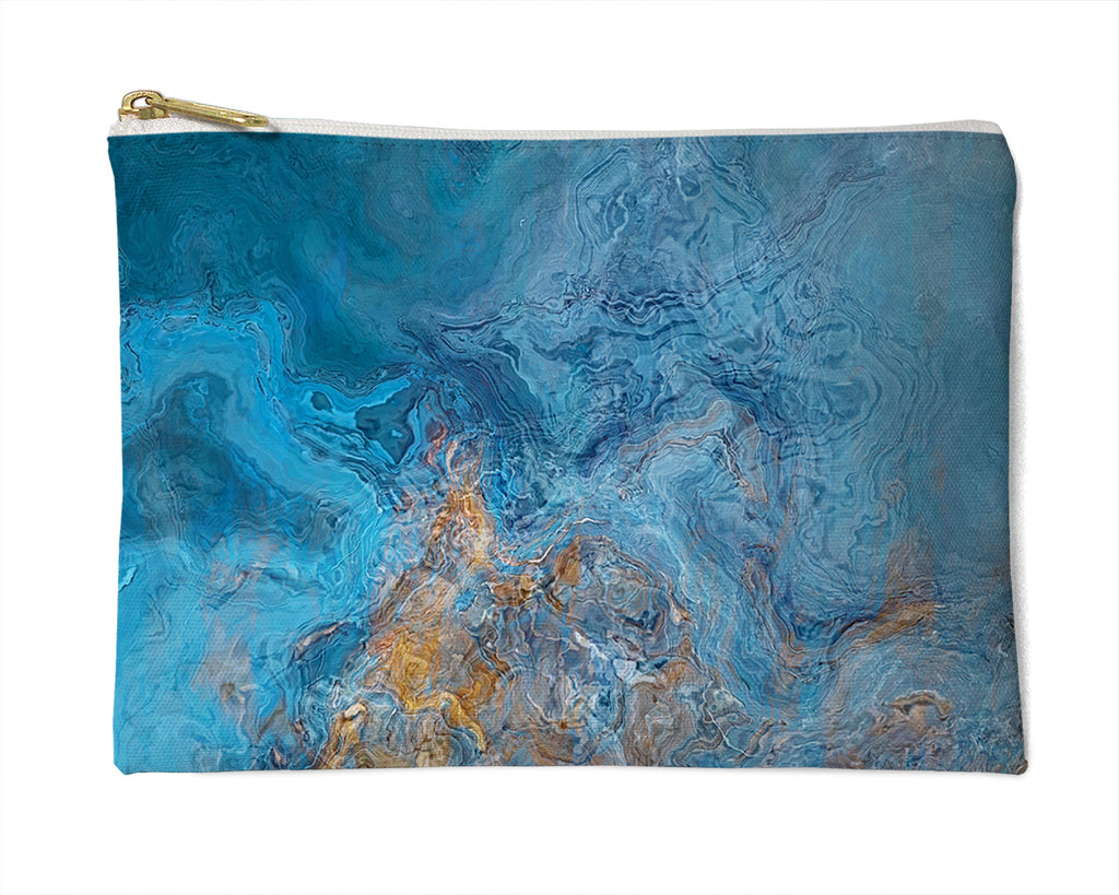 Makeup Bag, Pencil Case, Cosmetic Bag Abstract Art, Blue and Gold