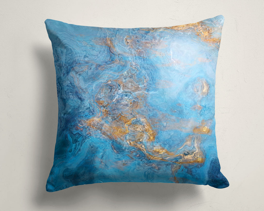 Abstract art pillow covers, 16x16 and 18x18 inches, Blue and Gold