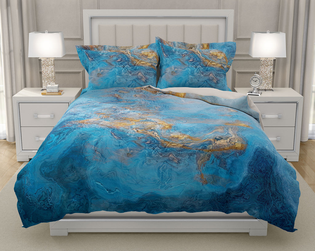 Duvet Cover with abstract art, king or queen in Blue and Gold