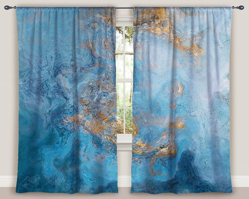"Abstract art window curtains 50""x84"" panels in Blue and Gold"
