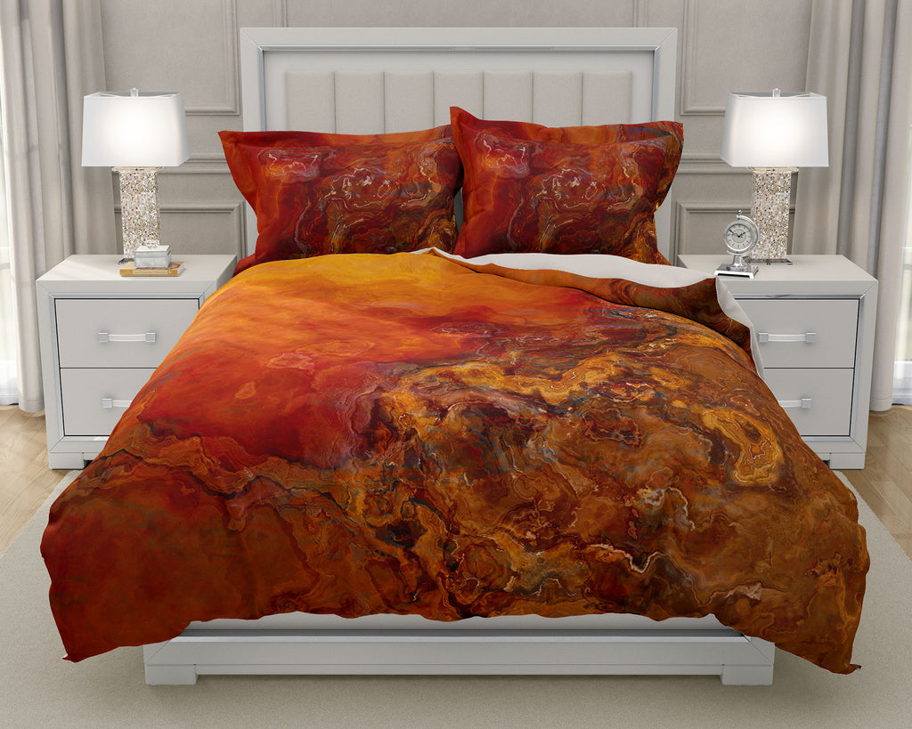 Duvet Cover with abstract art, king or queen in red, orange, brown