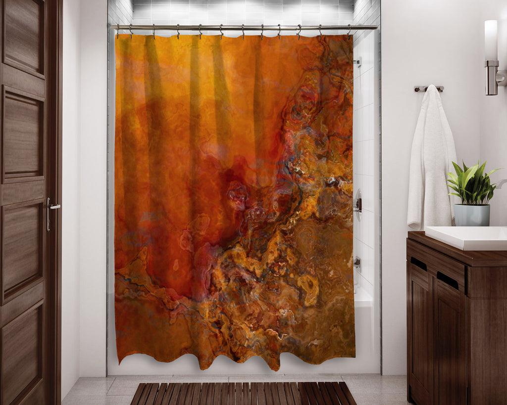 Abstract shower curtain Southwestern contemporary bathroom