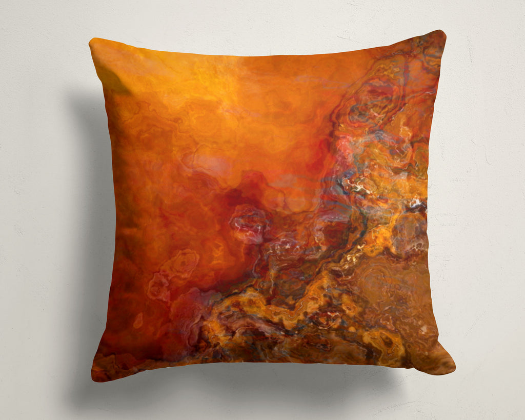 Abstract art pillow covers, 16x16 and 18x18 inches, red, orange, brown