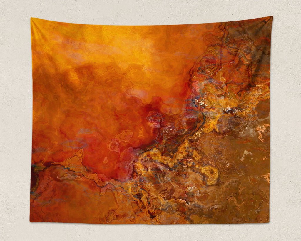 Abstract Art large modern wall hanging in red, orange, brown