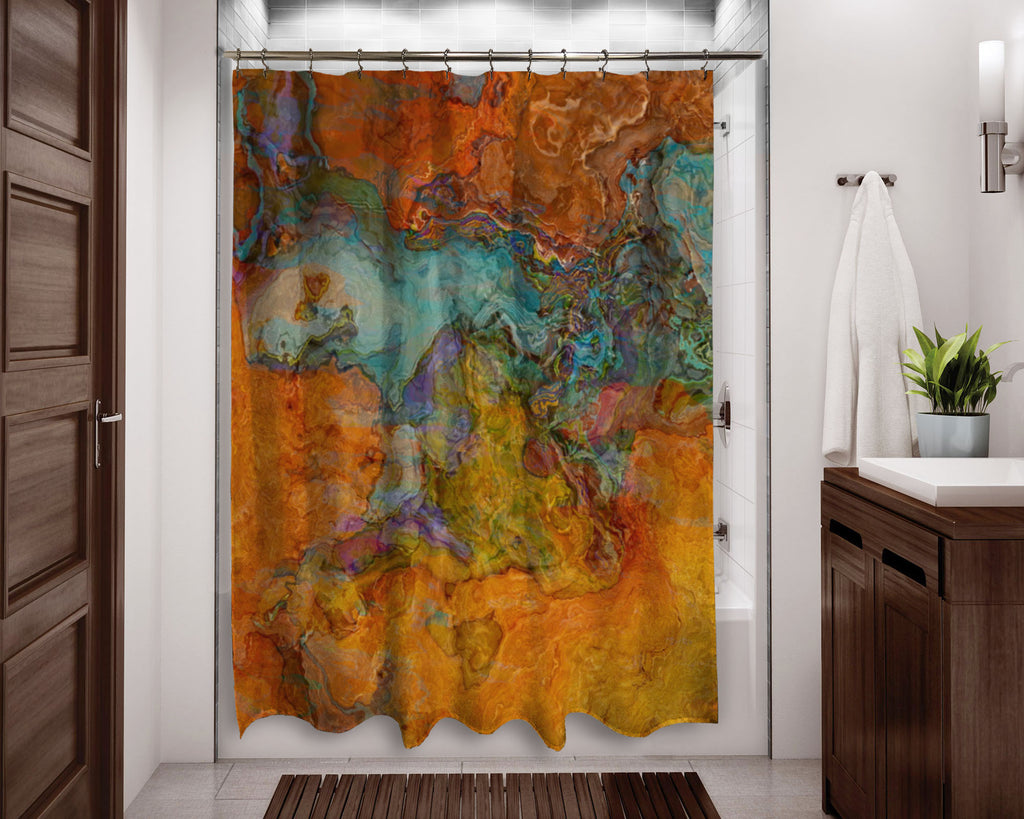 Abstract shower curtain orange, red, turquoise, contemporary bathroom