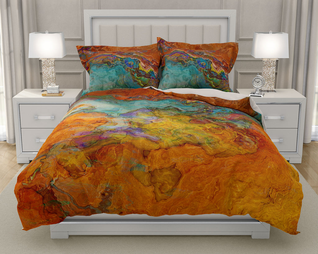 Duvet Cover with abstract art, king or queen in southwestern colors