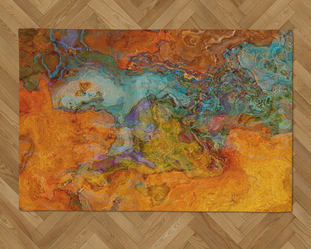 Area Rug with Abstract Art, 2x3 to 5x7, in southwestern colors