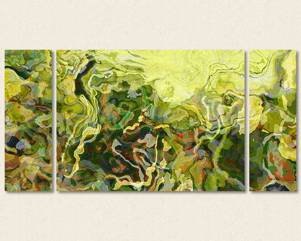 Abstract art triptych canvas print in yellow and green