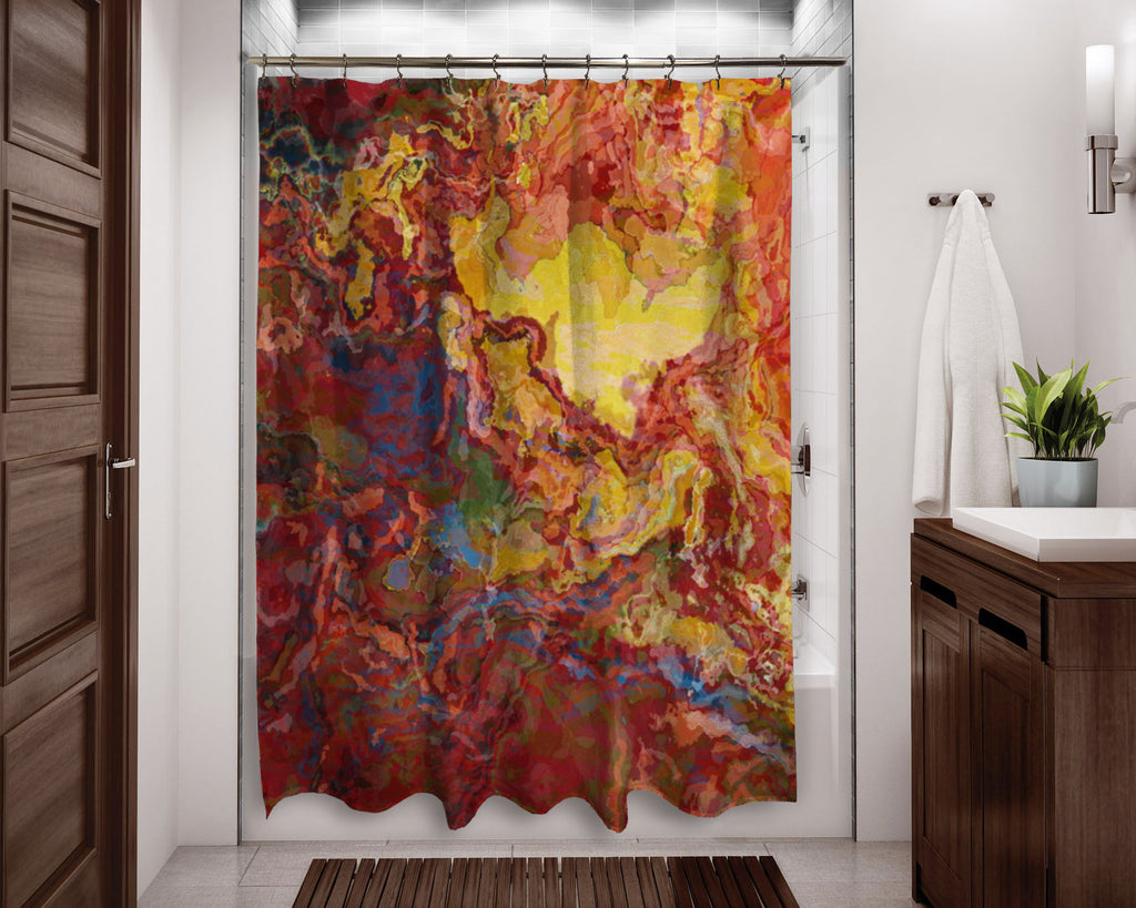 Abstract shower curtain red, yellow and blue contemporary bathroom