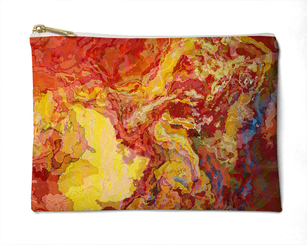 Makeup Bag, Pencil Case, Cosmetic Bag Abstract Art, red and yellow