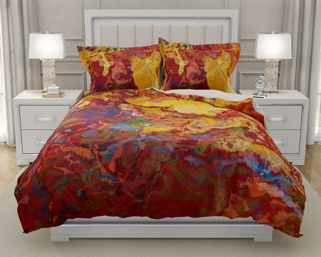 Duvet Cover with abstract art, king or queen in red, yellow and blue