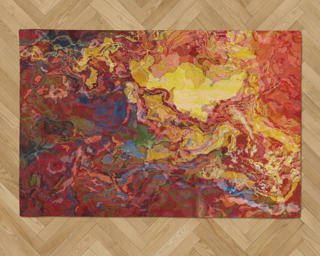 Area Rug with Abstract Art, 2x3 to 5x7, in red, yellow and blue