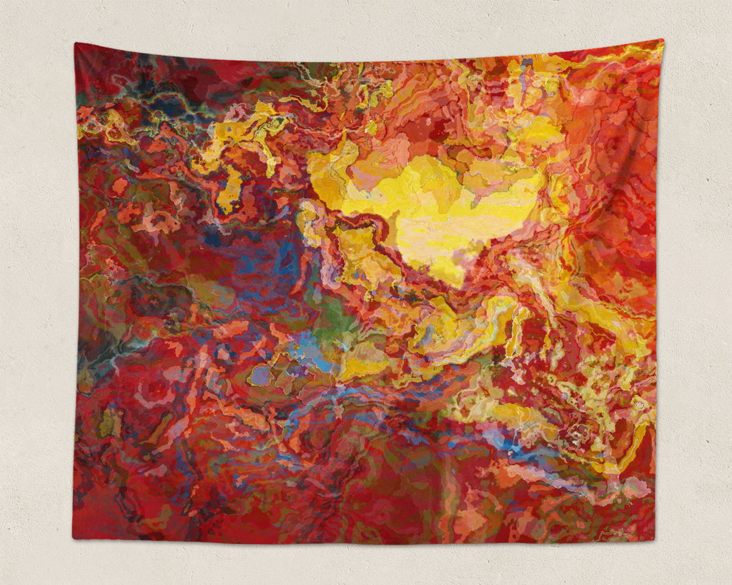 Abstract Art large modern wall hanging in red, yellow and blue