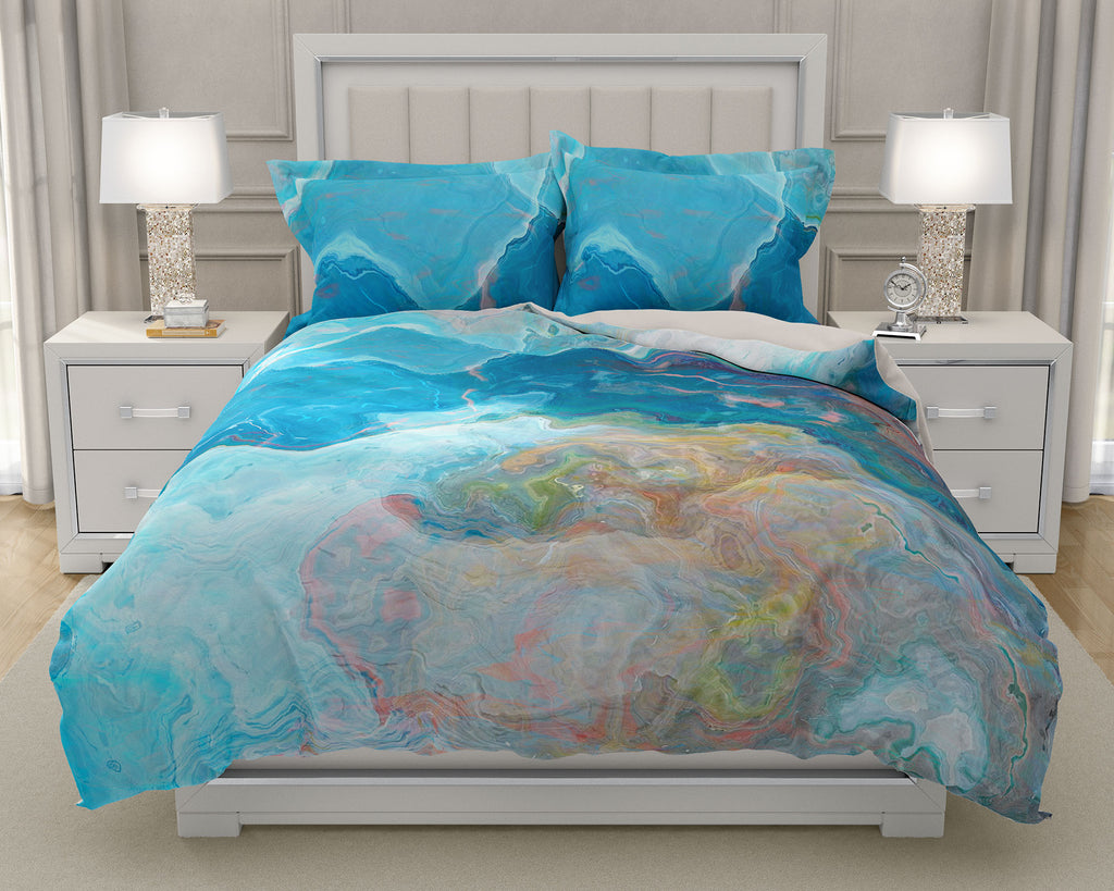 Duvet Cover with abstract art, king or queen in Blue and White