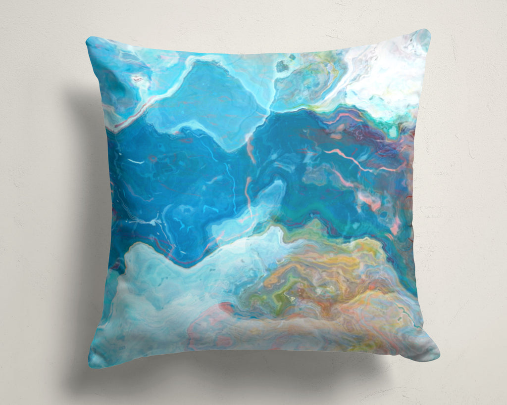 Abstract art pillow covers, 16x16 and 18x18 inches, Blue and White
