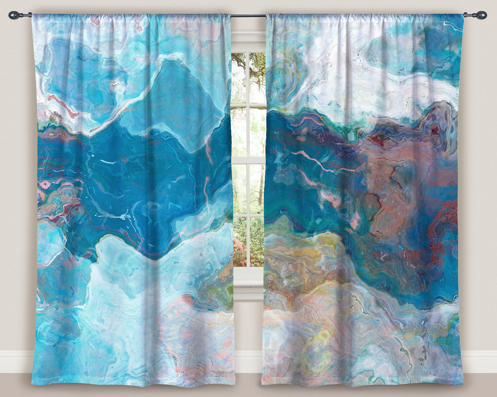 "Abstract art window curtains 50""x84"" panels in Blue and White"