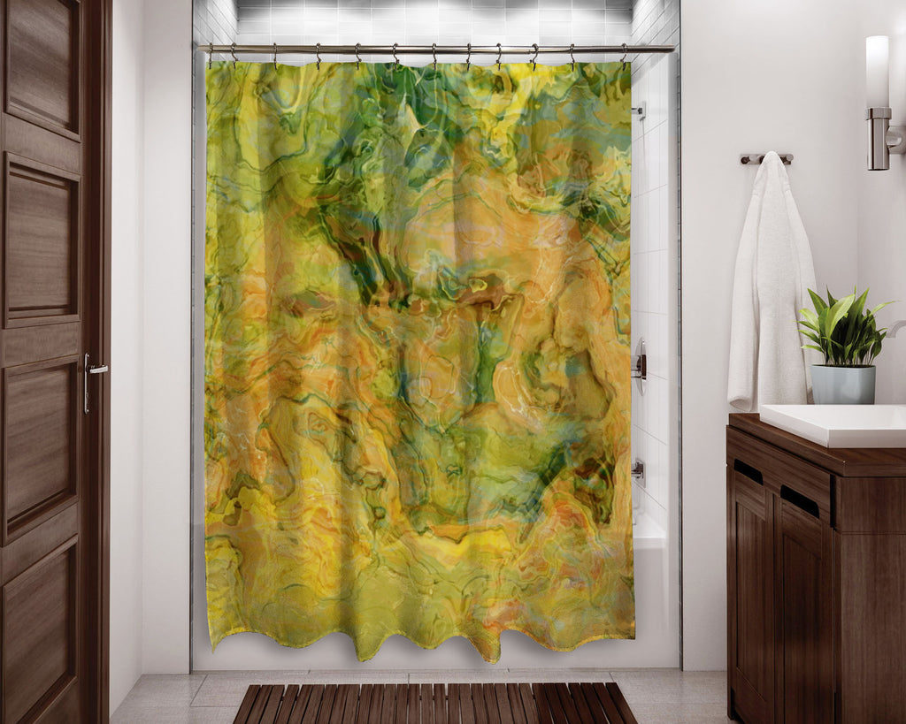 Abstract shower curtain green, orange, yellow contemporary bathroom