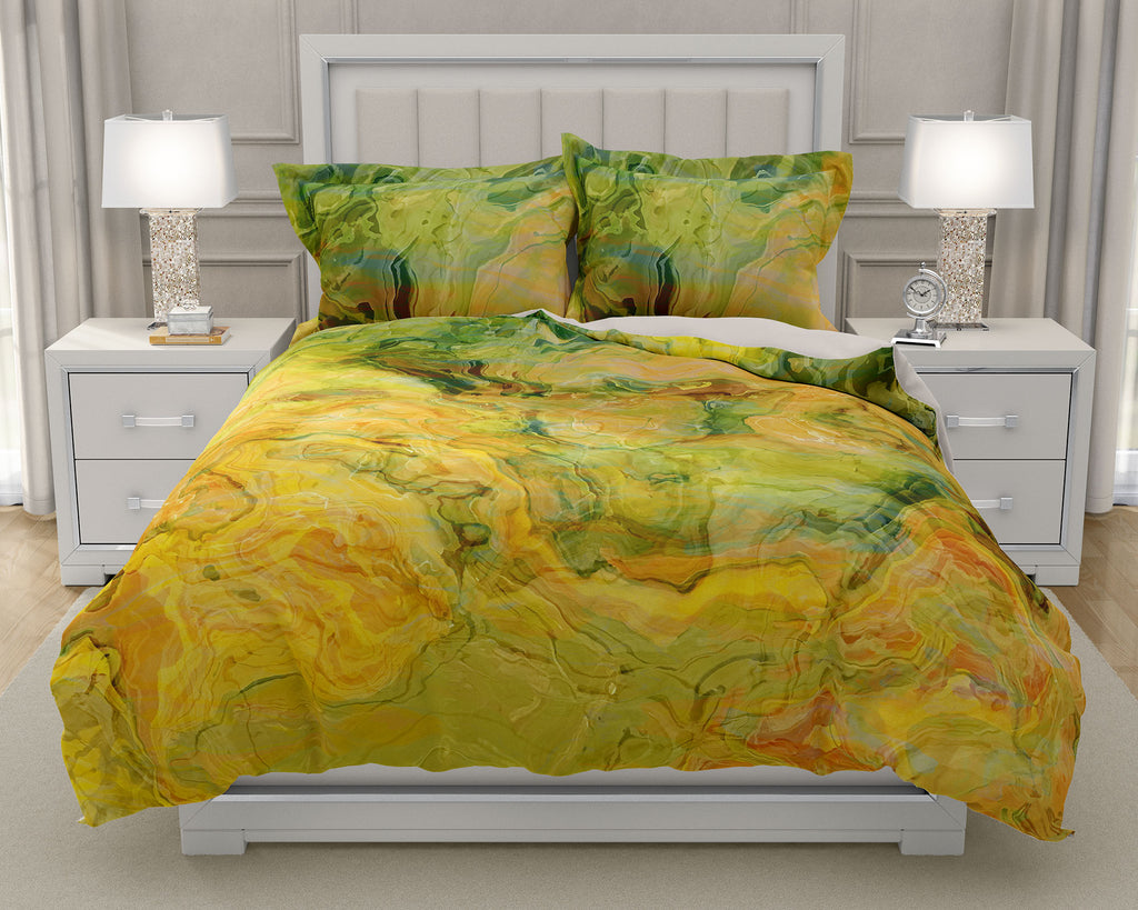 Duvet Cover with abstract art, king or queen in green, orange, yellow