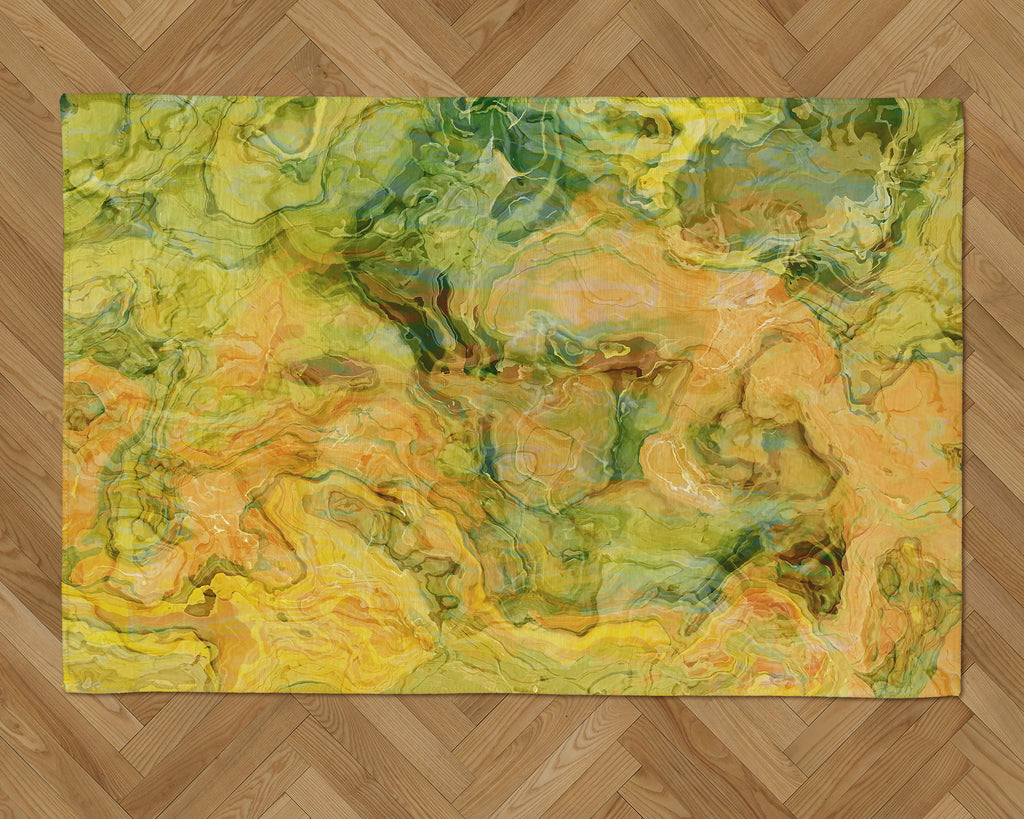 Area Rug with Abstract Art, 2x3 to 5x7, in green, orange, yellow