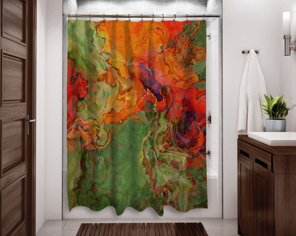 Abstract shower curtain orange, red, green contemporary bathroom