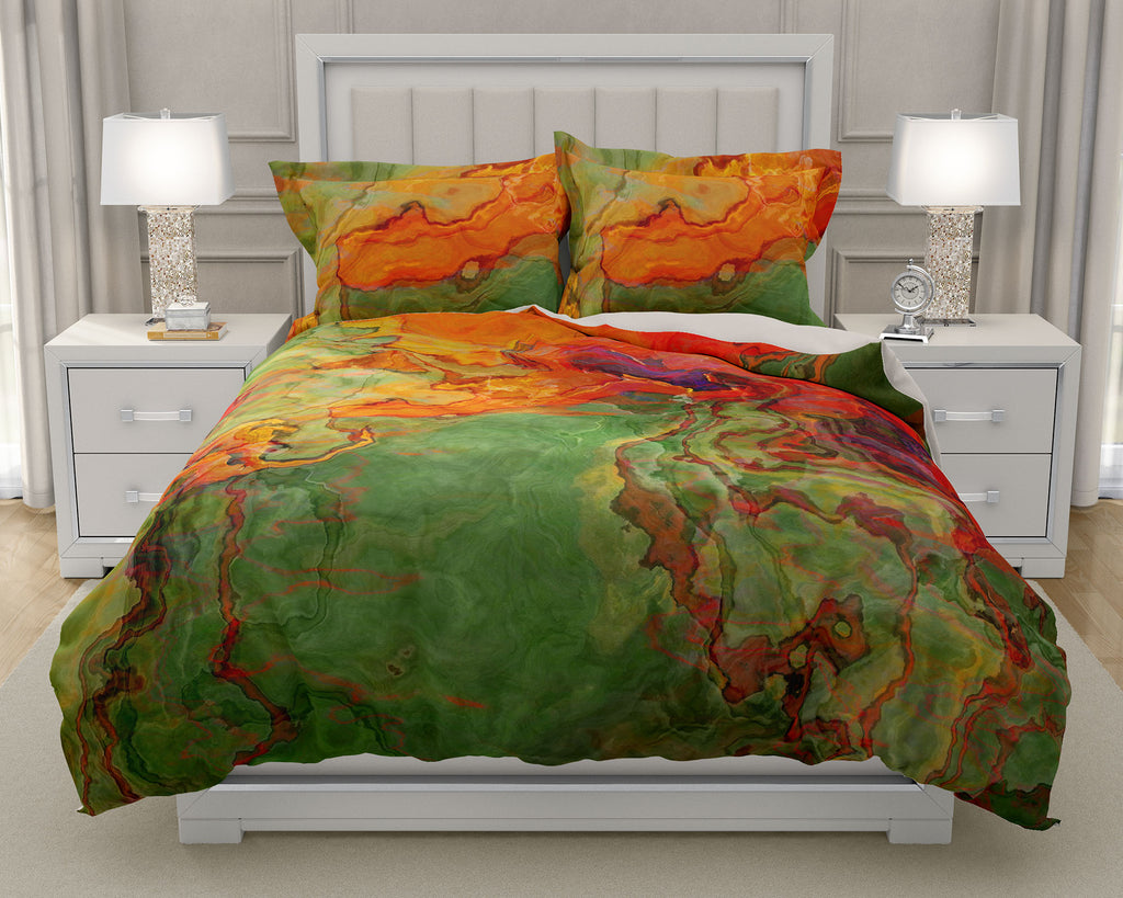 Duvet Cover with abstract art, king or queen in orange, red, green