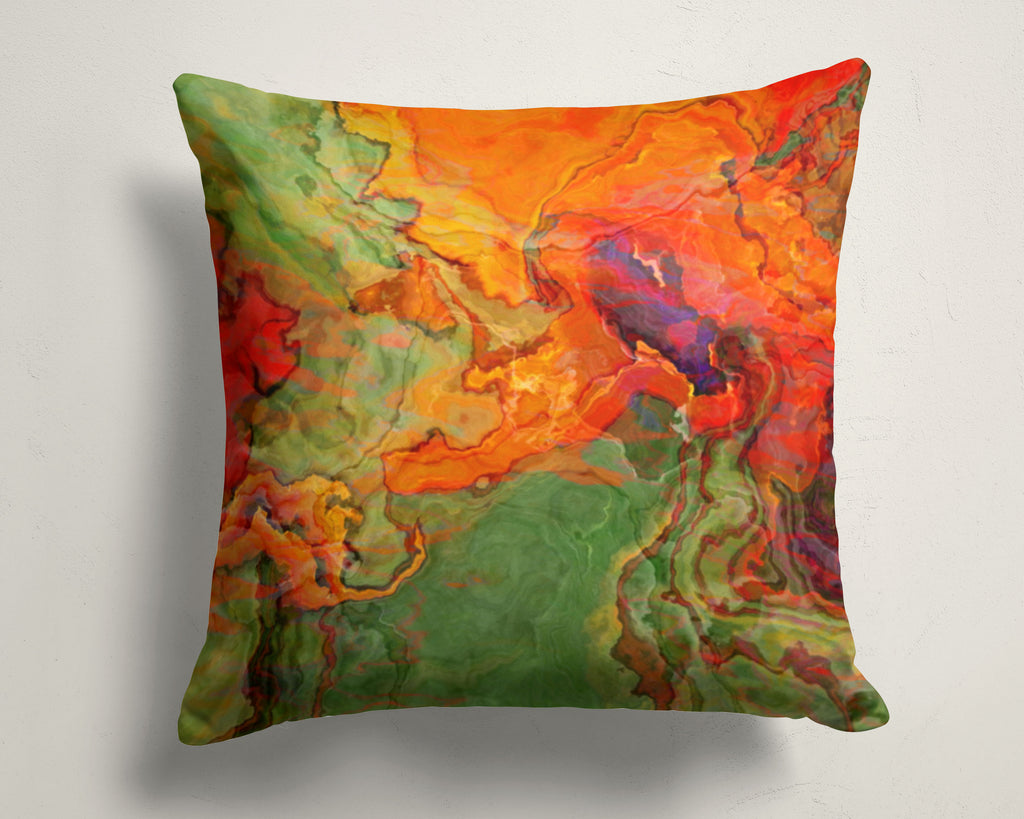 Abstract art pillow covers, 16x16 and 18x18 inches, orange, red, green