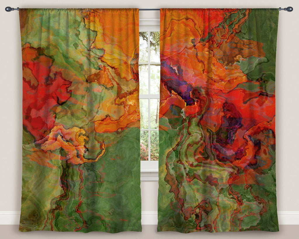 "Abstract art window curtains 50""x84"" panels in orange, red, green"