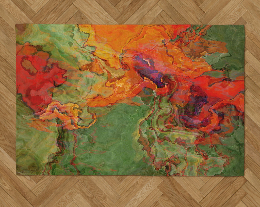 Area Rug with Abstract Art, 2x3 to 5x7, in orange, red, green