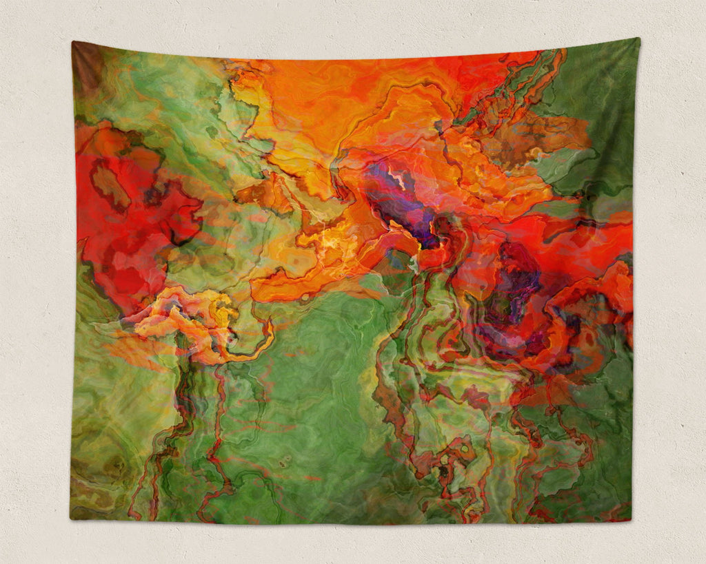 Abstract Art large modern wall hanging in orange, red, green