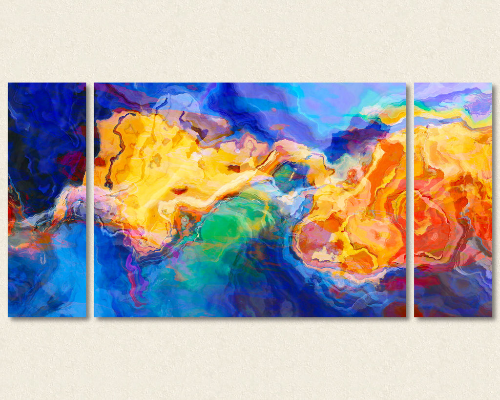 Abstract art triptych canvas print in blue, green, orange and yellow