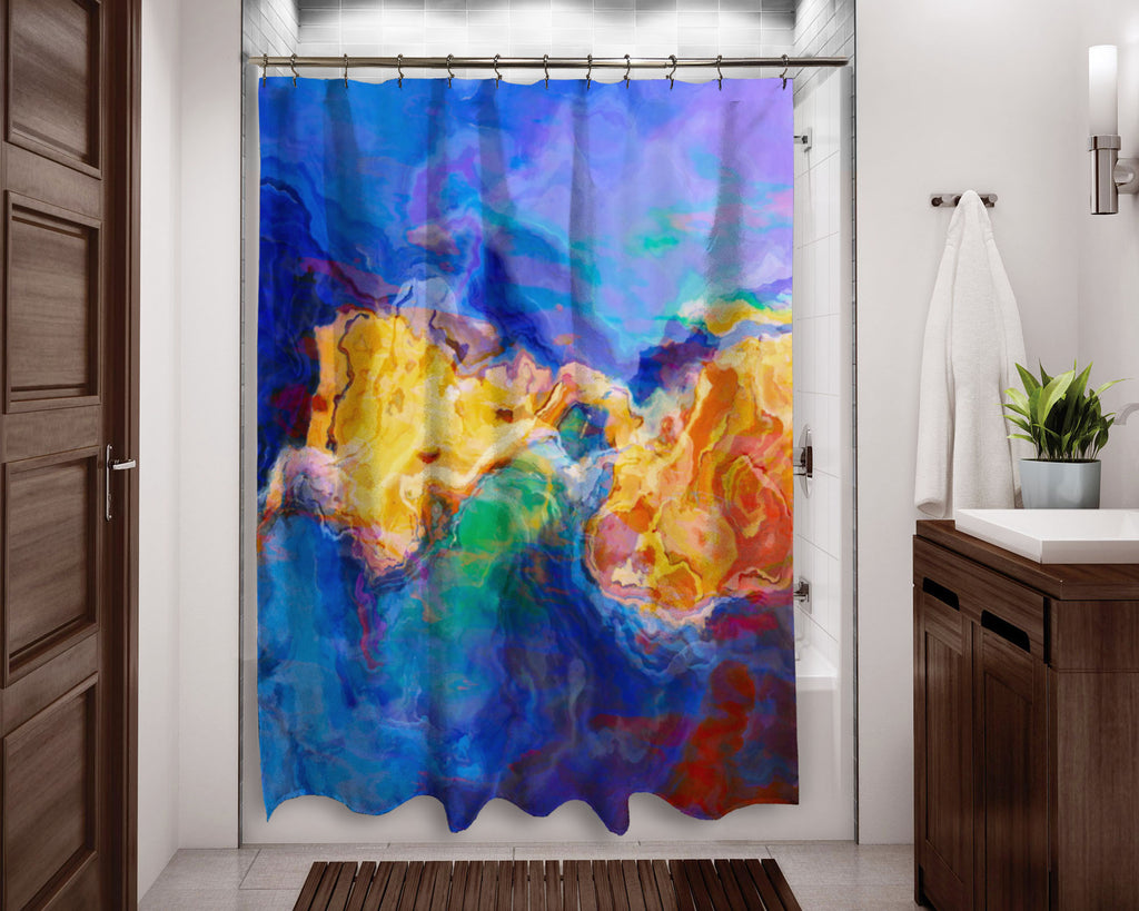 Abstract shower curtain blue, yellow, orange contemporary bathroom