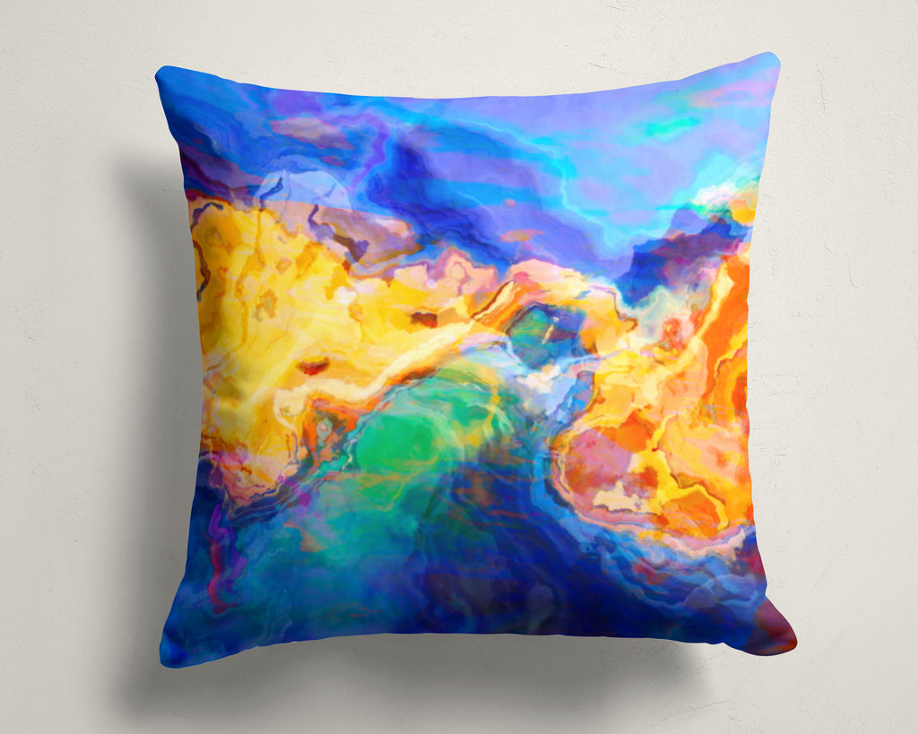 Abstract art pillow covers, 16x16 and 18x18 inches, blue, yellow