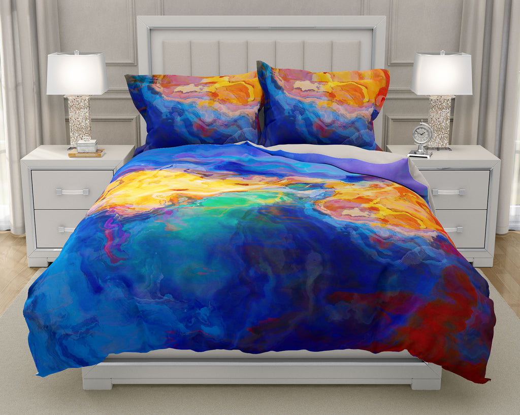 Duvet Cover with abstract art, king or queen in blue, yellow, orange